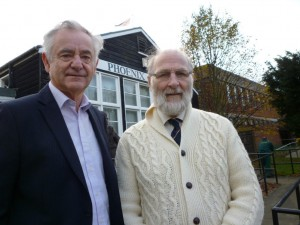 County Cllr. Roger Truelove with fellow Chalkwell Ward Borough Cllr. Ghlin Whelan outside the Phoenix House Community Centre.