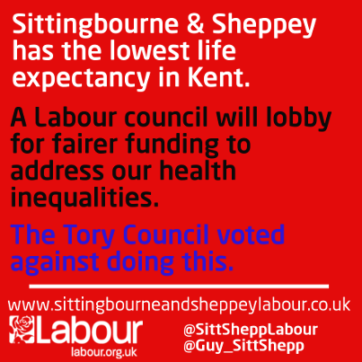 Our graphic from September following the Council meeting at which Swale Tories voted down Labour's motion calling for the Council to lobby for fairer heath funding in Sittingbourne and Sheppey.