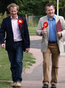 Mike Haywood with our Parliamentary Candidate Guy Nicholson