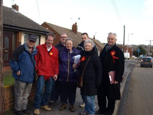 Activists with Guy Nicholson on a blustery and wet day in Minster for our February Day of Action.