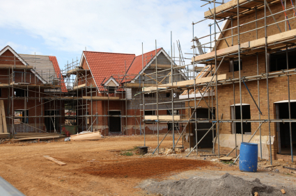New Houses Under Constuction On A Building Site